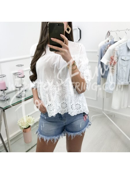 *** BLOUSE BRODERIE ANGLAISE WHITE ***