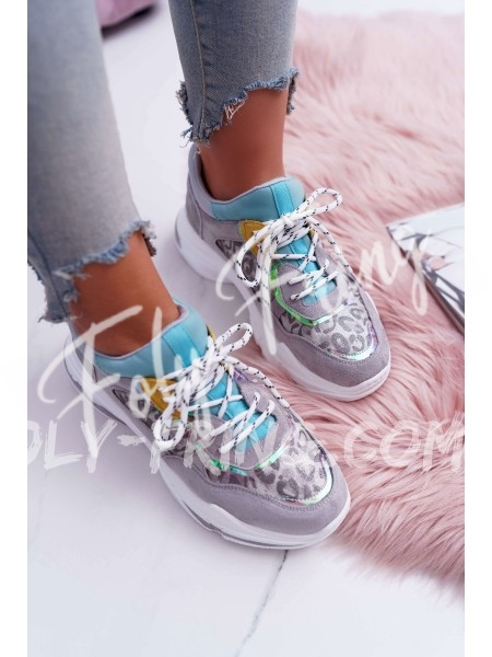 *** SNEAKERS FASHIONISTA GREY LEOPARD ***