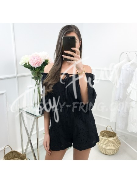 *** COMBISHORT BRODERIE ANGLAISE BLACK ***