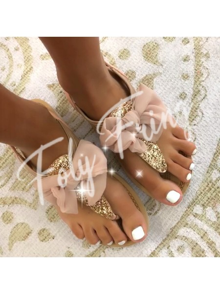 *** SANDALES SHINY SWAROVSKI ROSE GOLD***