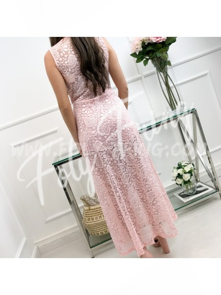 *** MAXI ROBE SHORT GUIPURE ROSE TENDRE ***