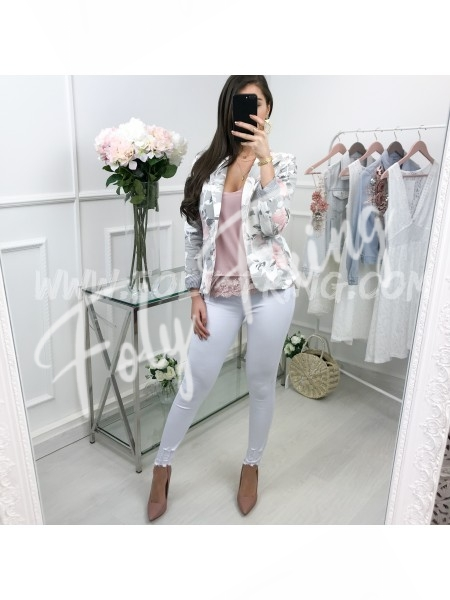 **** BLAZER FLOWERS GREY ***