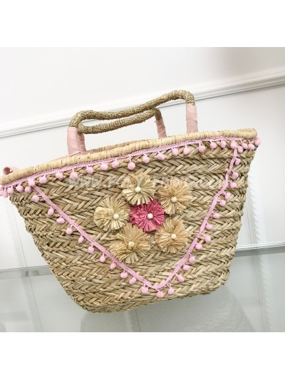 *** SAC PAILLE FLOWERS ROSE TENDRE ***