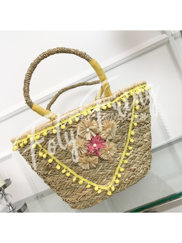 *** SAC PAILLE FLOWERS YELLOW ***