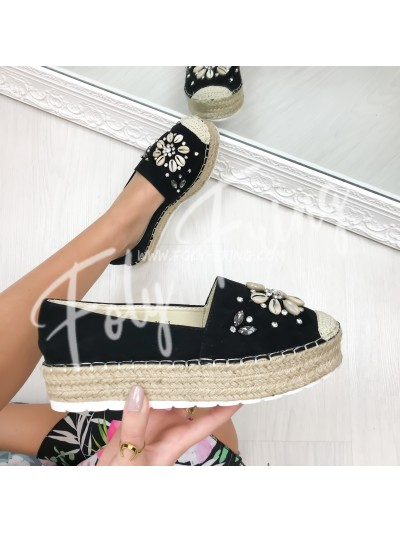 ***ESPADRILLES  STRASS & COQUILLAGE BLACK ***