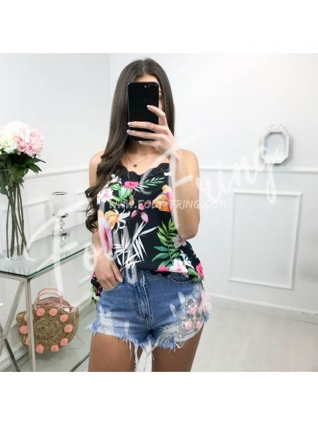 *** SHORT JEAN PREMIUM FLOWERS BLUE ***