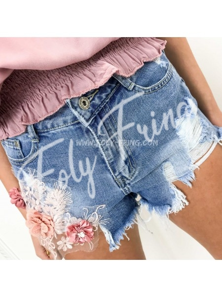 *** SHORT JEAN DESTROY  PREMIUM FLOWERS BLUE ***