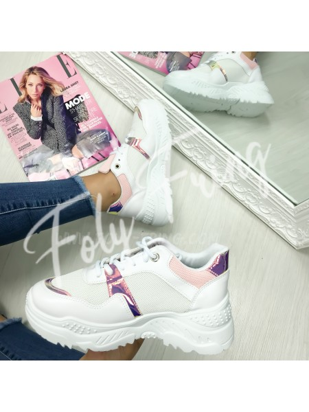 *** SNEAKERS FASHIONISTA WHITE & PINK ***