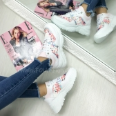 *** SNEAKERS FASHIONISTA FLOWERS WHITE ***