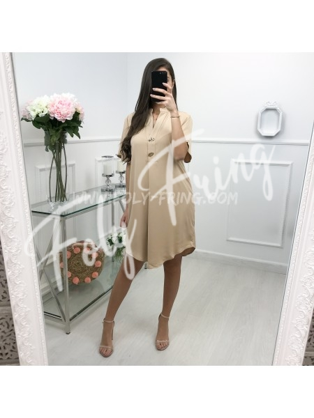 *** ROBE GOLDEN BOUTONS NUDE ***