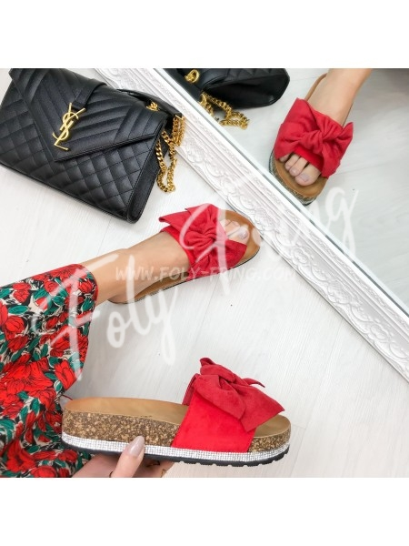 *** SANDALES NOEUD & STRASS RED ***