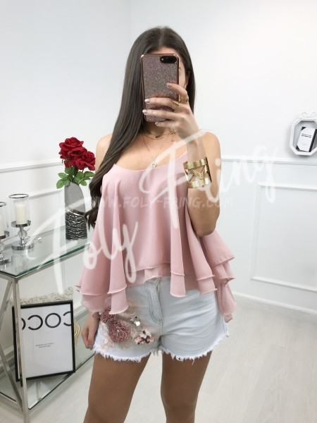 *** TOP A VOLANT MOUSSELINE BOIS DE ROSE ***