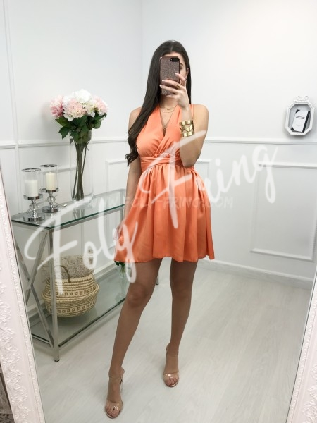 *** ROBE BRETELLES A NOUER SATIN ORANGE ***