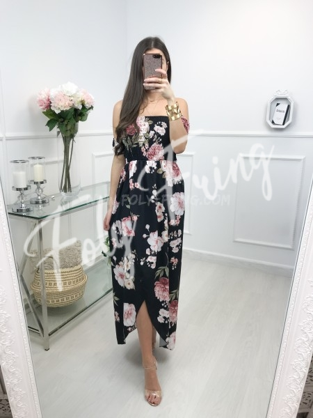 *** MAXI ROBE FLUIDE FLOWERS BLACK ***