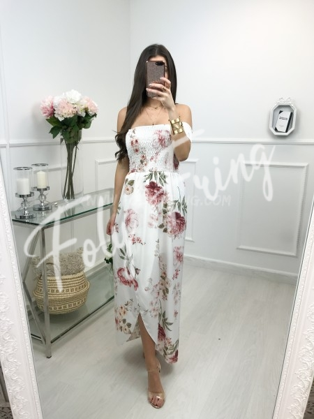 *** MAXI ROBE FLUIDE FLOWERS WHITE ***