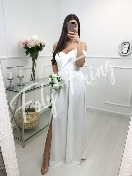 *** ROBE CEREMONIE EPAULES NUS WHITE ***