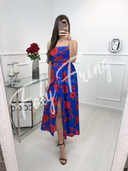*** ROBE FENDUE FLOWERS RED & BLUE ***
