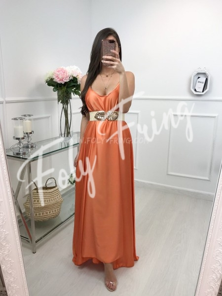 *** MAXI ROBE SATIN ORANGE ***