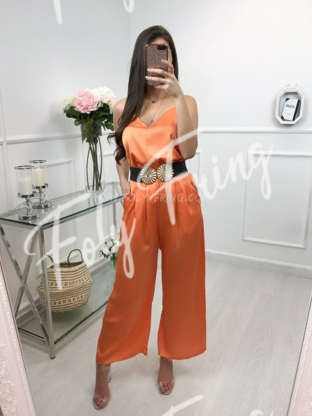 *** ENSEMBLE TOP + PANTALON SATIN ORANGE ***