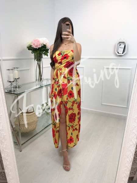 *** ROBE FENDUE FLOWERS RED & MOUTARDE ***