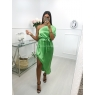 *** ROBE ONE SHOULDER SATIN GREEN ***