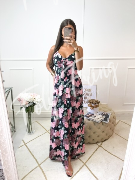 *** MAXI ROBE BOUTONS FLOWERS BLACK ***