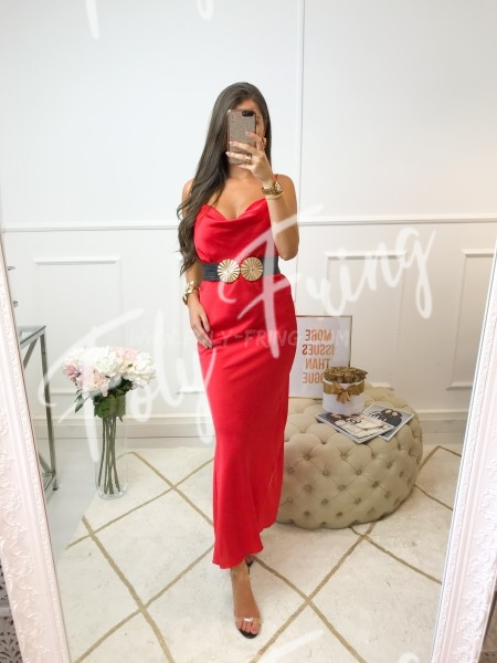 *** MAXI ROBE GLAM SATIN RED ***