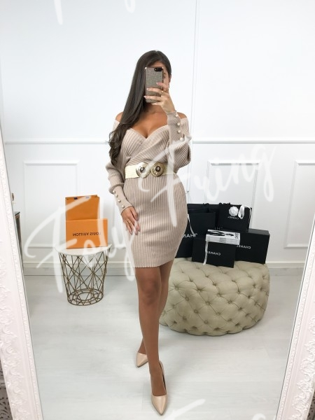 *** ROBE MAILLE CACHE COEUR NUDE ***