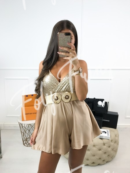 *** COMBISHORT TAUPE & STRASS ***
