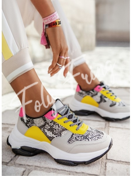 *** SNEAKERS PYTHON YELLOW & PINK ***