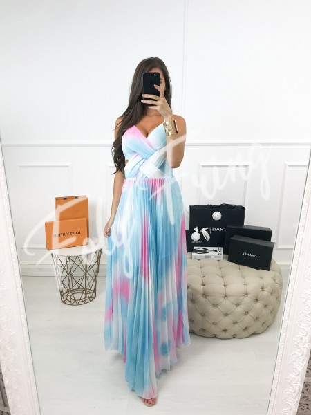 *** MAXI ROBE PLISSEE TIE AND DYE  ***