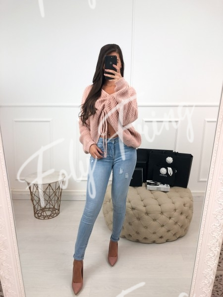 *** PULL CROPPED A NOUER ROSE TENDRE ***