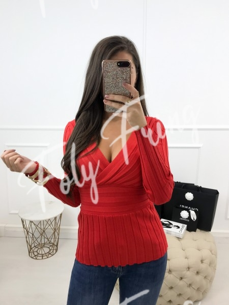 *** PULL COEUR CROISE RED ***
