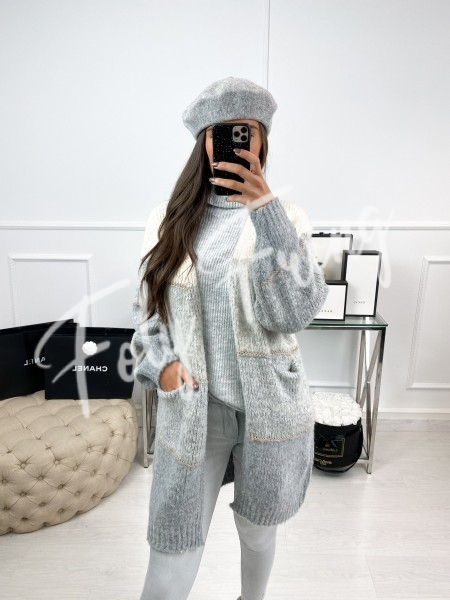 *** GILET LONG LIGHT GREY &...