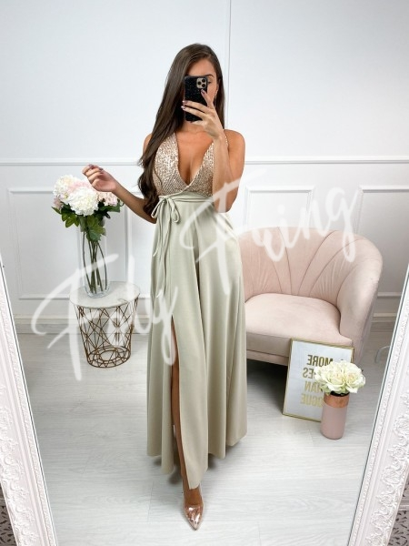 ROBE SEQUINS GOLD & NUDE