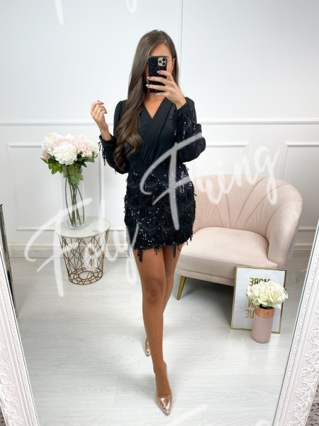 ROBE CACHE COEUR SEQUINS BLACK