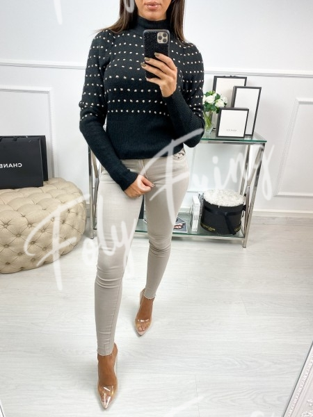 PULL COL MONTANT A POIS BLACK