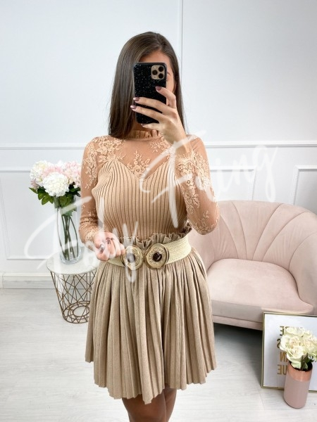 TOP MAILLE & DENTELLE NUDE