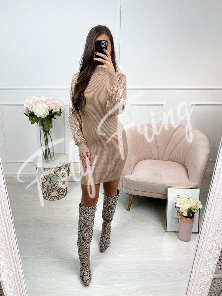 ROBE MANCHES SEQUINS ROSE GOLD