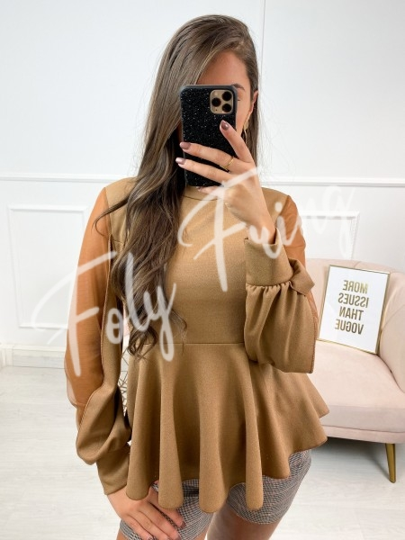 BLOUSE MANCHES TULLE CAMEL