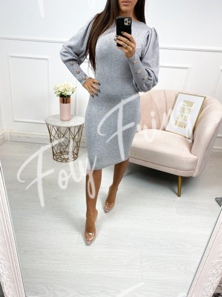 ROBE PULL MANCHES BOUTONS GREY