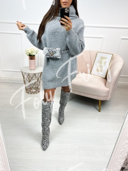 ROBE PULL MAXI COL ROULE GREY