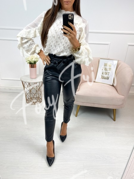 BLOUSE A VOLANT NUDE