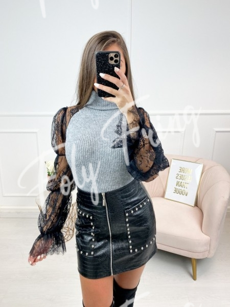 PULL MANCHES DENTELLE GREY