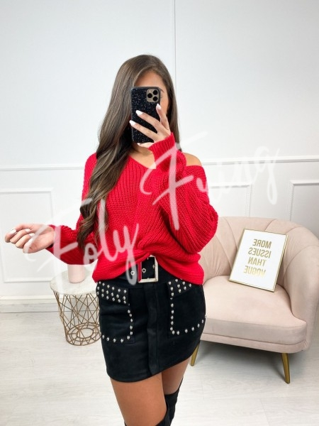 PULL COL V CROISE RED