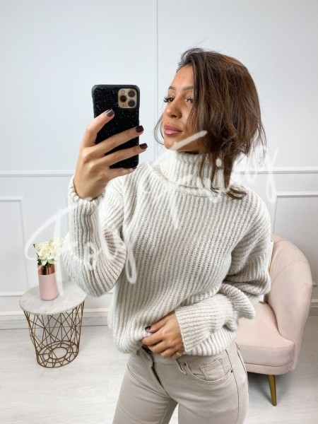 PULL COL ROULE NUDE