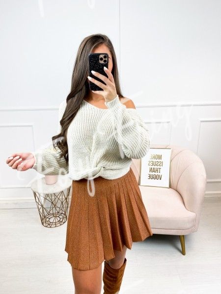 PULL COL V CROISE NUDE