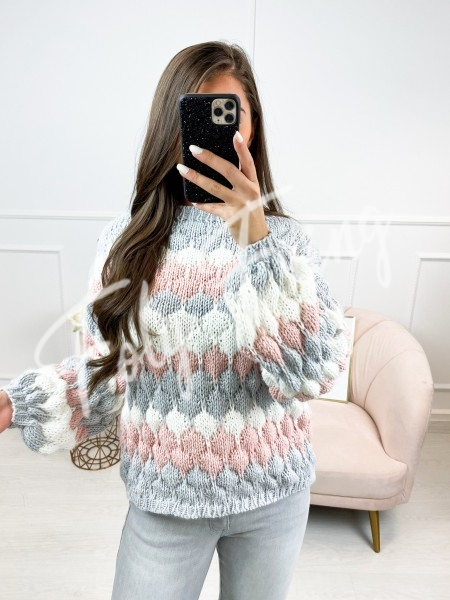 PULL MAXI MAILLE GREY & PINK