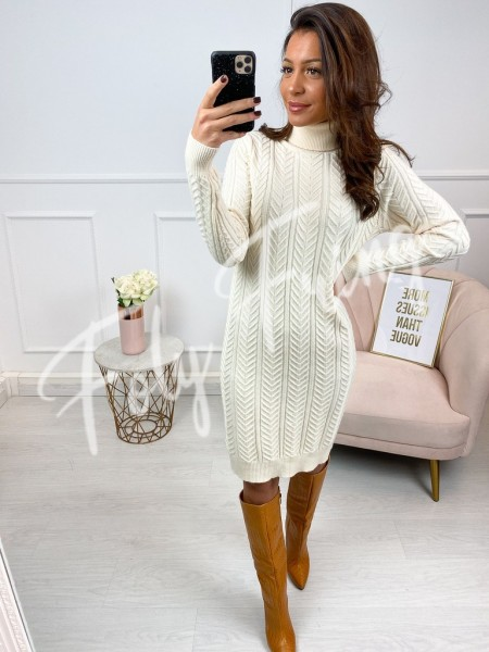 ROBE  PULL COL ROULE NUDE