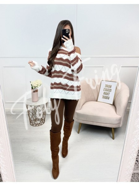 PULL COL ROND TAUPE